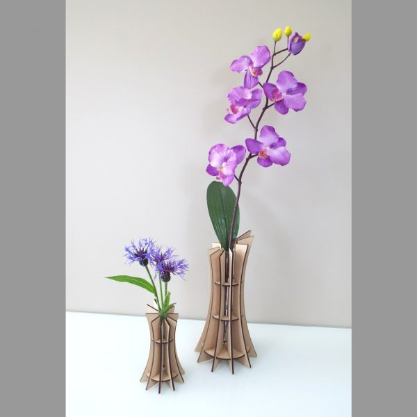 Vase slicy fleur design made in france atelier thorey MDF bois verre fleurs découpe laser