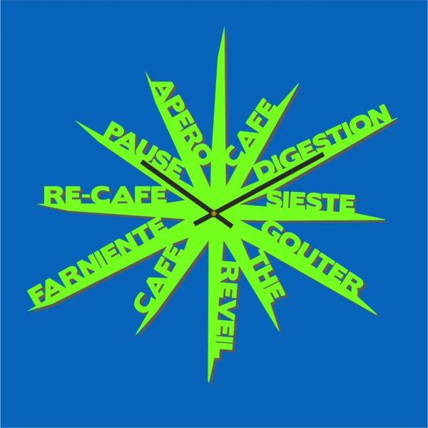 Horloge Design Farniente verte - ATelier Thorey - Découpe laser - made in France