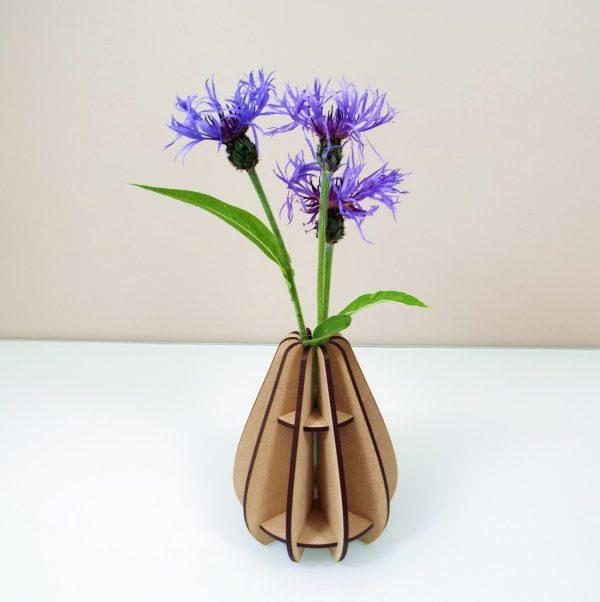 Vase mini goutte design made in france atelier thorey MDF bois verre fleurs découpe laser