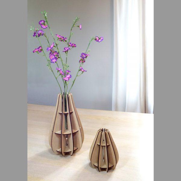 Vase design made in france atelier thorey MDF bois verre fleurs découpe laser