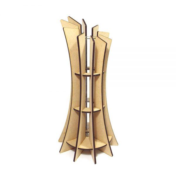 Vase design original bois mdf chêne PMMA plexiglas trasparent tube verre made in France atelier thorey découpe laser moderne