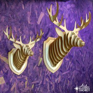 trophée tête de cerf - petit et grande taille