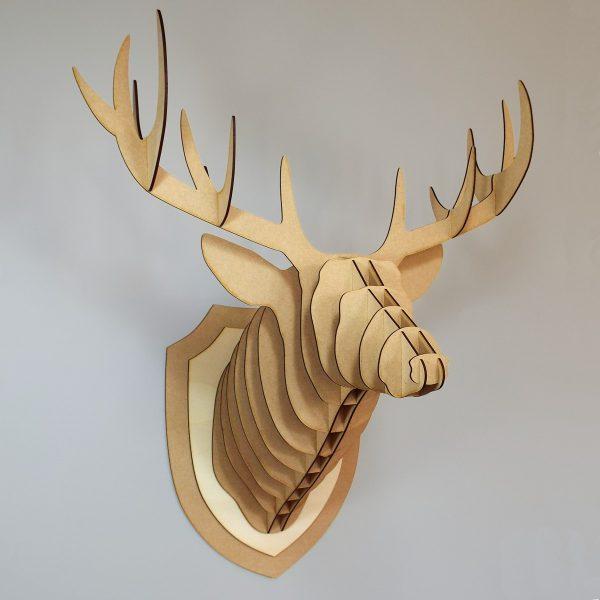 Trophée tête de cerf bois MDF - Decoupe laser - Made in France