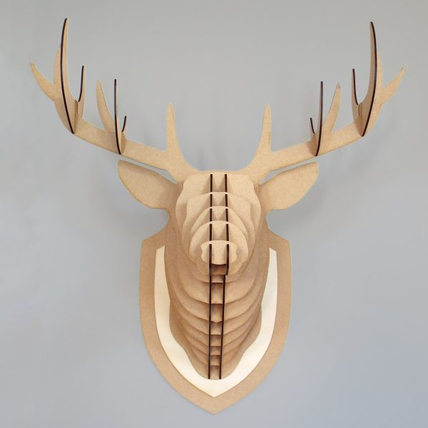 Trophée tête de cerf bois MDF - Découpe laser - Made in France