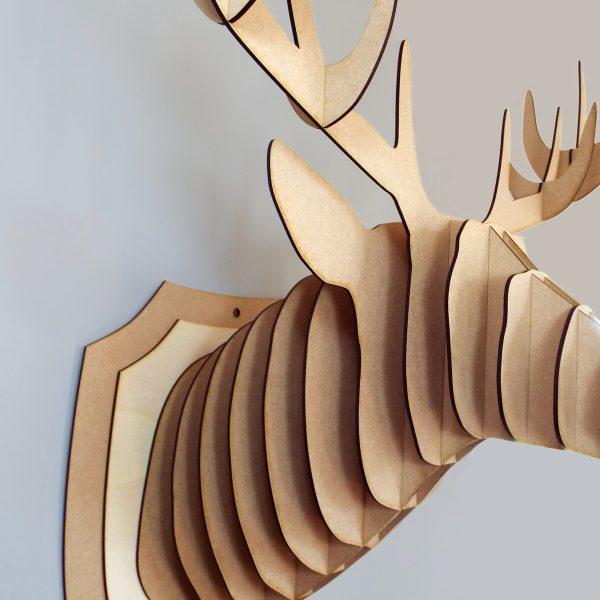 Fixation trophée tête de cerf - Atelier Thorey - Decoupe laser - Made in France