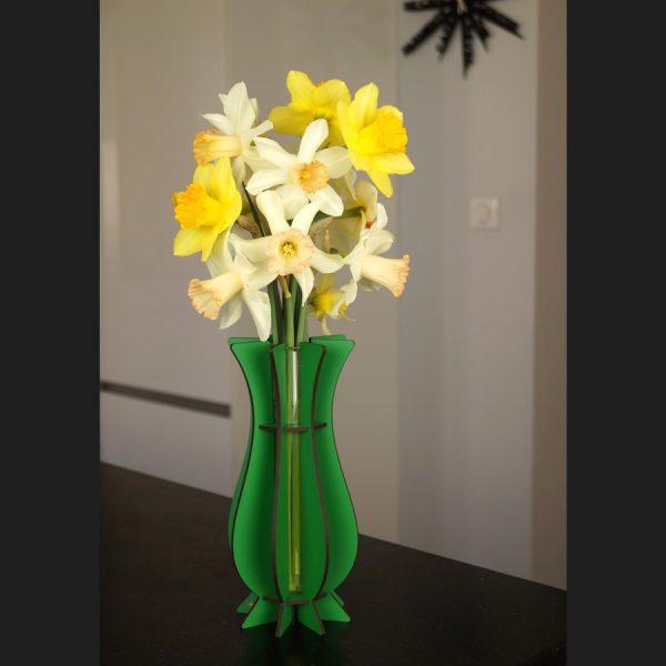 Vase vert en bois Mum