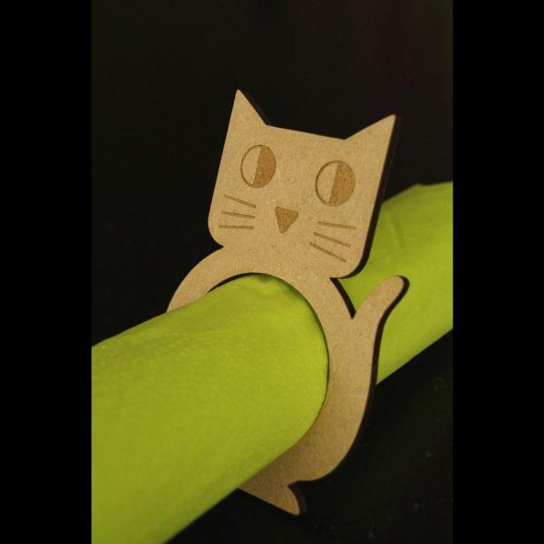 Ronds de serviette Chat en bois