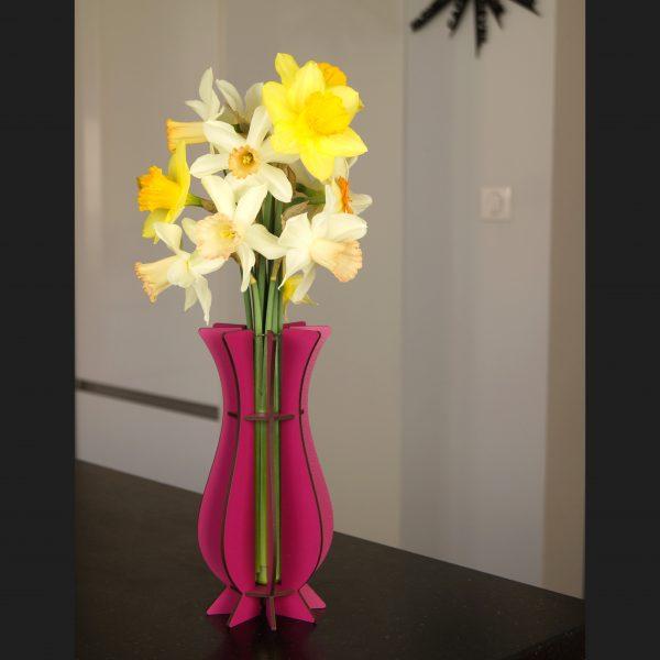 Vase rose en bois Mum