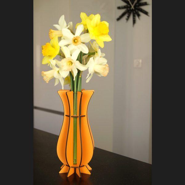 Vase orange en bois Mum
