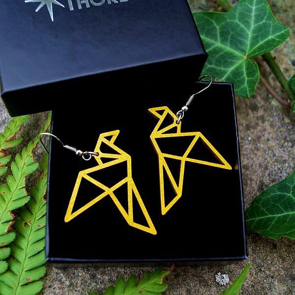 Boucle oreille origami oiseau tendance original or bois