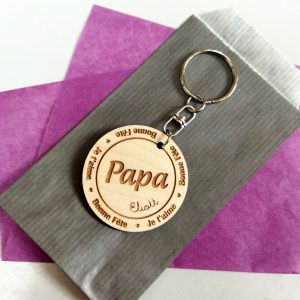 Porte-clé-papa-fête de père-cadeau-bois-original-personnalisé