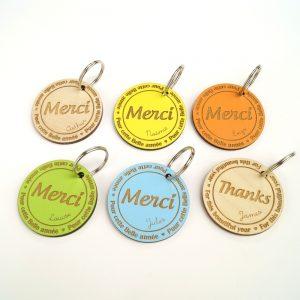 Porte-clés cadeau maitresse à personnaliser en bois