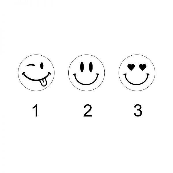 Motifs smiley pour boutons de manchette bois gravé et argent