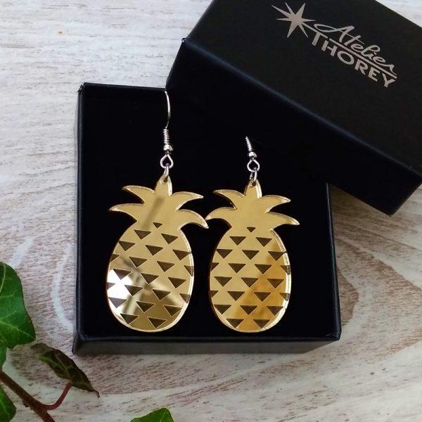 Boucles oreilles ananas miroir or plexiglas