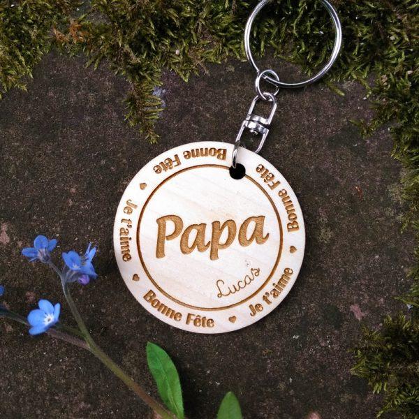 Porte-clés bois fête des pères à personnaliser