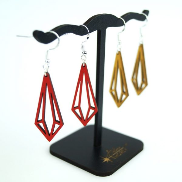 Boucles d'oreilles Pampille or t rouges