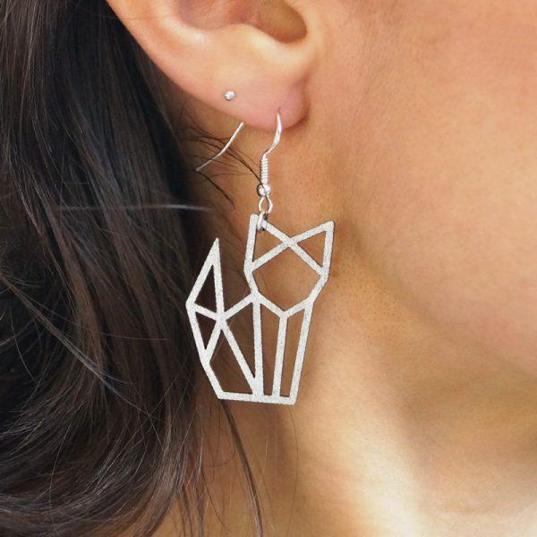 Boucles d'oreilles chat origami