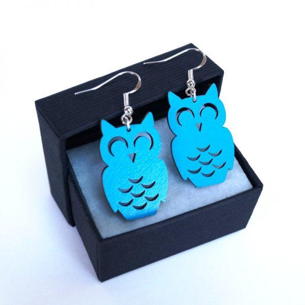 Boucles d'oreilles chouette hibou bleu turquoise