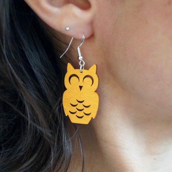 Boucles d'oreilles chouettes hiboux or