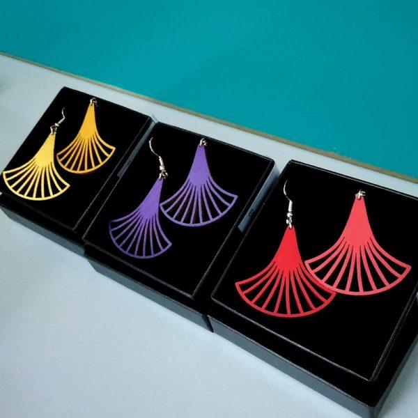 Boucles d'oreilles en bois grand éventail art déco or violet rouge