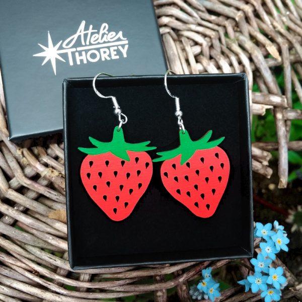 Boucles d'oreilles fraises