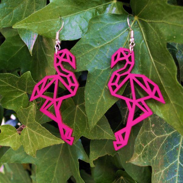 Boucles d'oreilles bois flamant rose