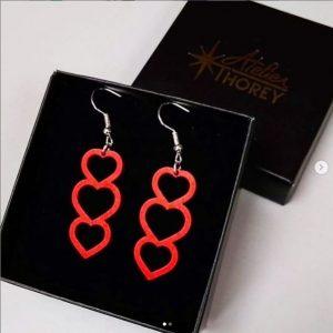 Boucles oreilles cœurs rouge