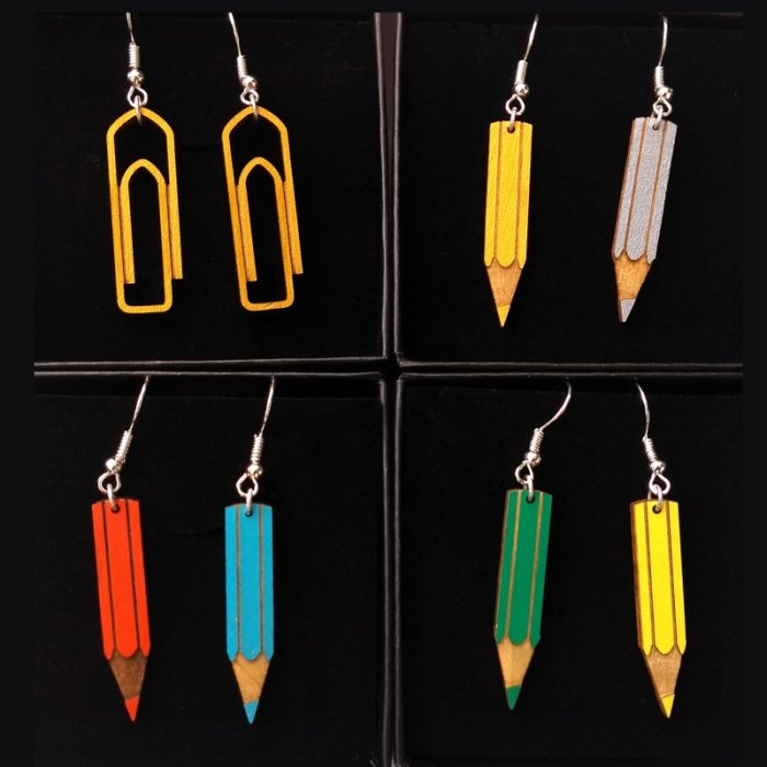 Boucles d'oreilles crayons cadeau maîtresse fun