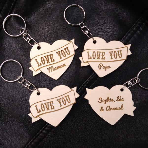 porte-clés coeur bois tatoo love you personnalisé fête des mères pères prénom
