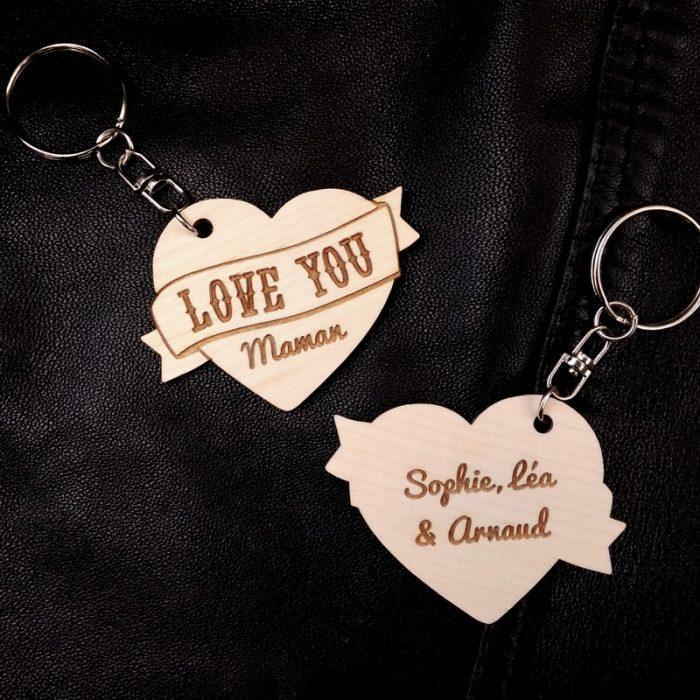 porte-clés coeur bois tatoo love you maman personnalisé fête des mères