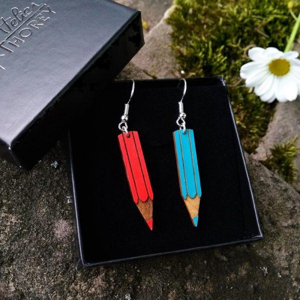 Boucles d'oreilles crayons rouge bleu