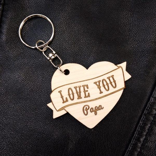 porte-clés coeur bois tatoo love you papa personnalisé fête des pères