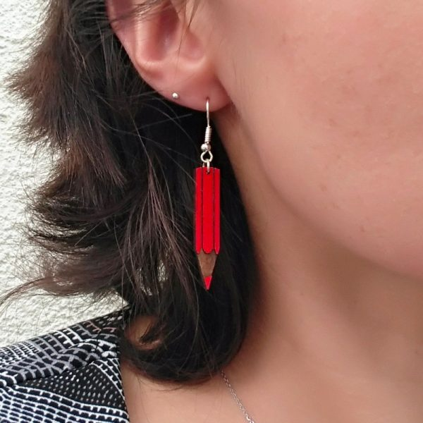 Boucles d'oreilles crayons rouge