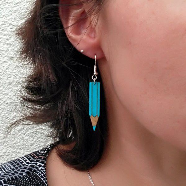 Boucles d'oreilles crayons bleu