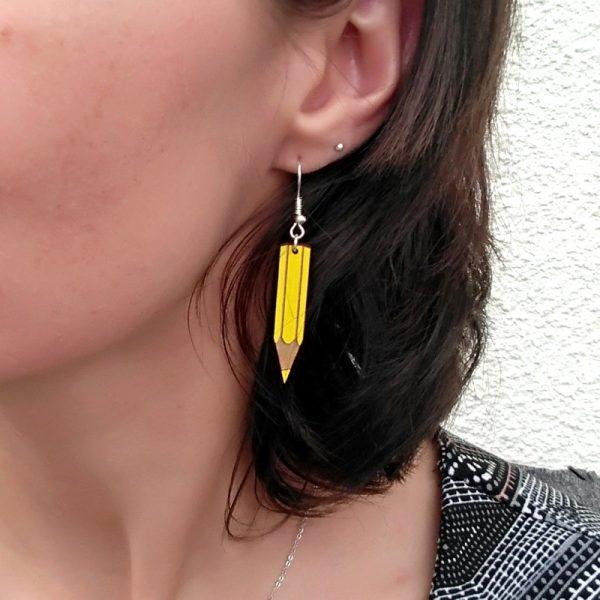Boucles d'oreilles crayons jaune