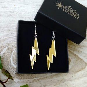 Boucles d'oreilles éclair flash plexiglas miroir or