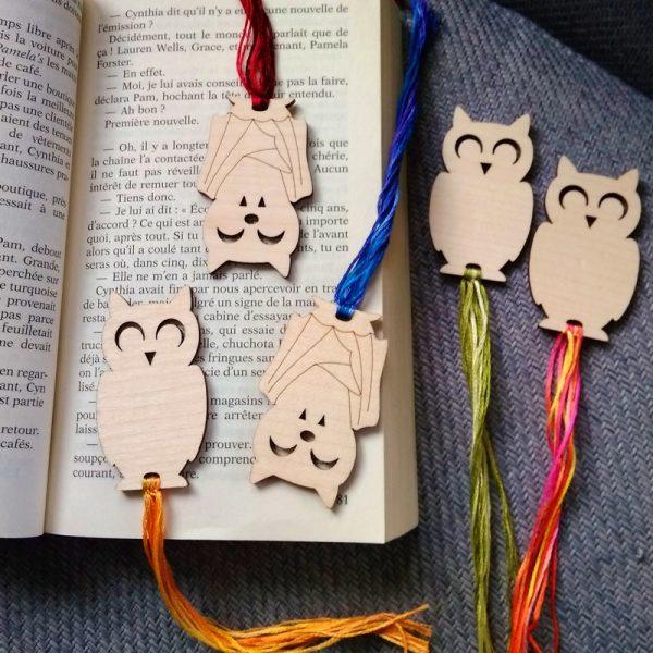 Marque page bois personnalisé hibou chouette chauve souris