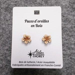 Puces oreilles bois lutherie fleur hibiscus