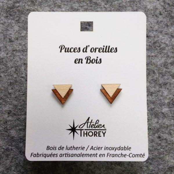 Puces oreilles bois lutherie triangles clair sur foncé