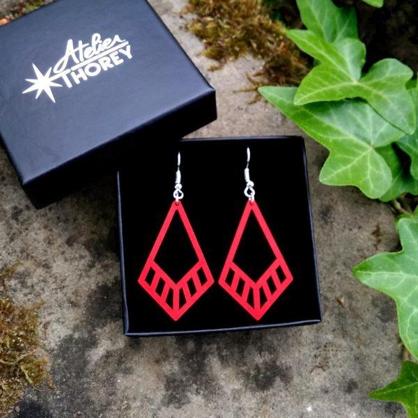 Boucles d'oreilles Art déco losange en bois rouge