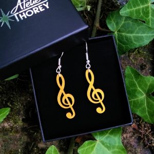 Boucles d'oreilles clef de sol musique