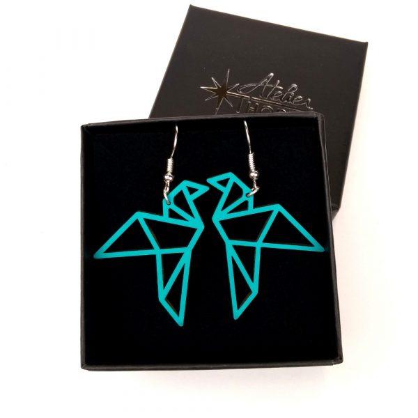 boucle oreille oiseau origami vert emeraude atelier thorey
